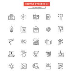 Flat Line Icons- Web design