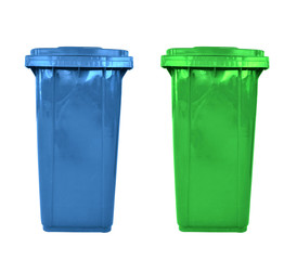 plastic garbage bins isolated