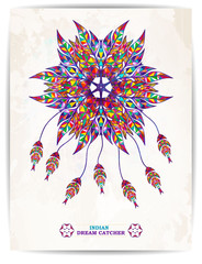 Ethnic background with abstract feathers design. Vector Dream Catcher