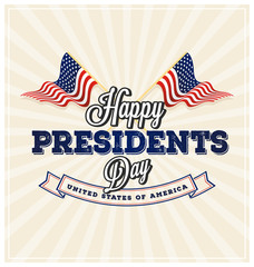 Happy Presidents Day Background and symbols with USA wavy flag. Vector illustration