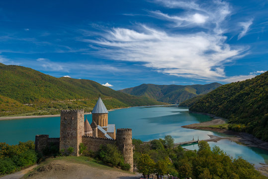 Ananuri castle against beautiful landscape