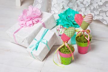 Birthday gift box with flowers.Romantic still life, fresh flower