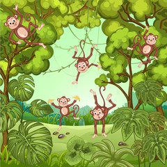 Illustration of monkeys playing in the jungle