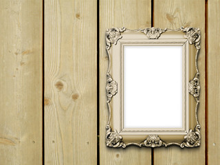 Close-up of one baroque picture frame on vertical wooden boards background