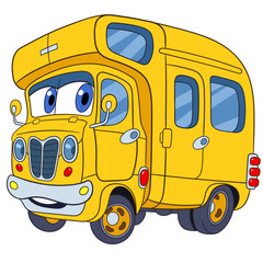 cute and funny childish cartoon school bus, stylized to human face for kids, isolated on a white background