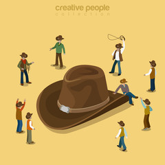 Country cowboy style wearing hat flat isometric vector 3d