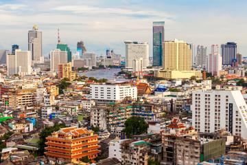 Bangkok skyline at sunset, Thailand.