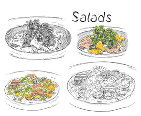 Hand drawn lunch menu of the salads