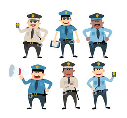 cartoon police man set. isolated on white background
