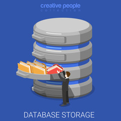 Database storage data folder flat 3d isometric vector