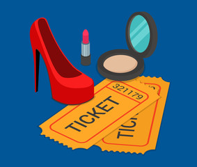 Fashion pret-a-porter show ticket booking flat isometric vector