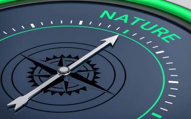 3D Compass. Nature Word