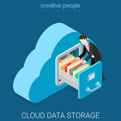Cloud data storage flat 3d isometric vector