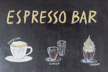 Chalkboard menu for coffee menu