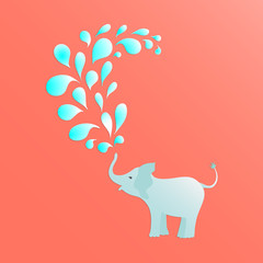 Baby elephant is spraying colorful water drops over itself. It's perfect for baby shower projects, cards, invitations, stickers, tags, and many more. Vector illustration for your design.