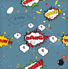 Seamless pattern background with comic book speech bubbles vector illustration
