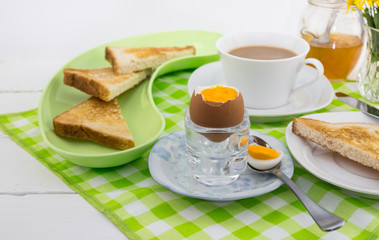 Boiled egg breakfast with white background