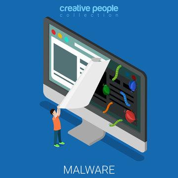 Infected website internet software flat vector technology