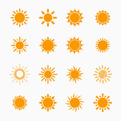 Orange Sun symbols set, vector design elements