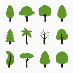 Tree icons set. Vector illustration