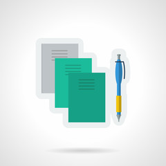 Textbooks and notebooks flat color vector icon