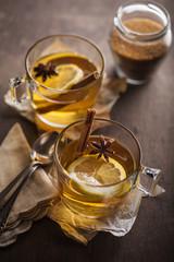 Herbal tea in a table