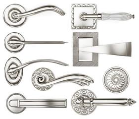 Set of several door handles. 3d rendering