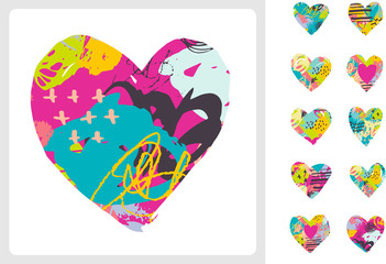 Hand drawn, painted vector colorful heart icons set