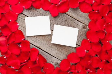 Photo frames over wood and red rose petals