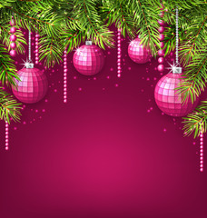 Pink Wallpaper with Fir Twigs and Glassy Balls