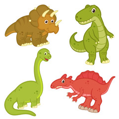 set of isolated dinosaur - vector illustration, eps