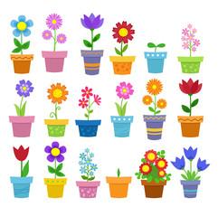 Flowers in pots - clip art