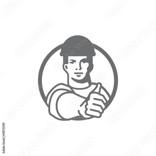 Worker character man in industry show thumbs-up. Outline logo ...