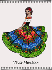 Beautiful Mexican dancing woman. Mexican fashion and style.Vector illustration.