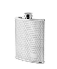 flask steel on a white background
