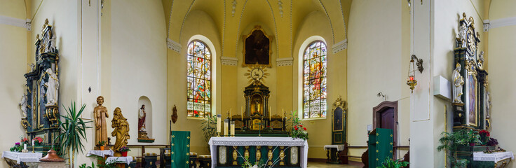 Majestic church interior panoramic view