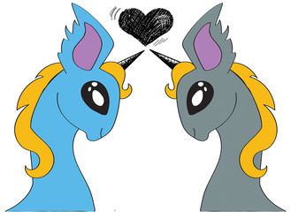 Two unicorns in love cartoon