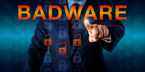 Malware Author Pressing BADWARE Onscreen