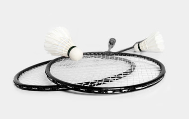 rackets for badminton and shuttlecock two monochrome