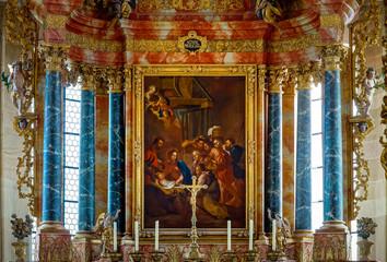Tilt-shift view of church indoor interior