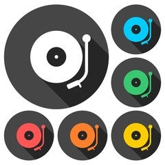 Gramophone icons set with long shadow
