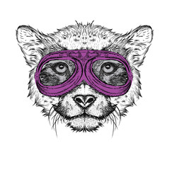 Portrait of a cheetah in motorcycle glasses. Vector illustration