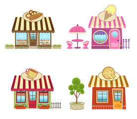 Shops - Cute bakery, coffee, pizza and ice cream shops. Eps10