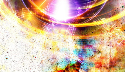 Audio music Speaker and note. Cosmic space and stars, abstract cosmic  background.