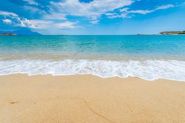 Yellow sand beach blue sky sea
