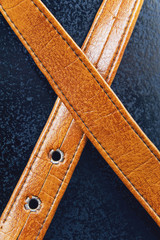Male brown leather belt on a blue background