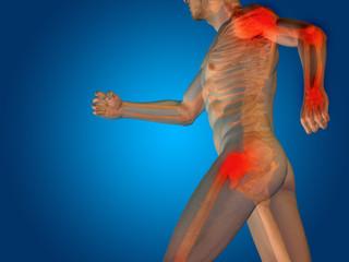 Conceptual human body anatomy pain on blue