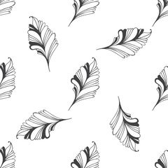 Seamless pattern with hand-drawn doodle feathers.