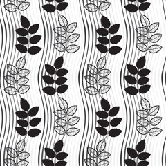 Seamless monochrome pattern with  hand-drawn abstract leaves.