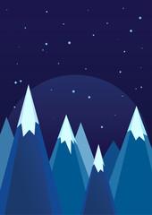 Snowy Mountains In Winter Night Landscape